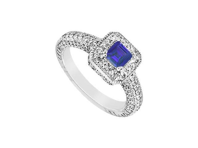 Multirow Created Sapphire and CZ Halo Engagement Ring in 14kt White Gold 1.25.ct.tgw