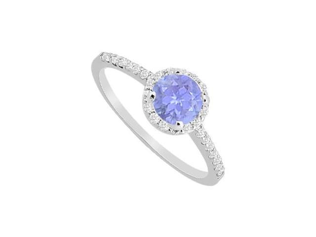 Tanzanite Halo Engagement Ring with Diamonds Pave in 14K White Gold One Carat Total Weight