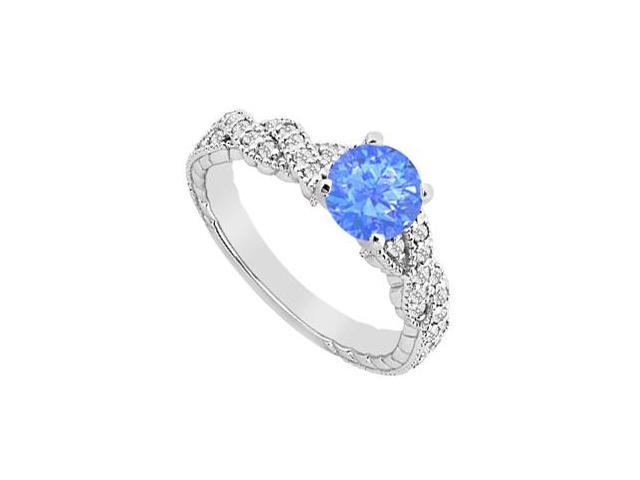 Engagement Ring with Diffuse Sapphire and White Cubic Zirconia in 14K White Gold 1.25 Carat TGW