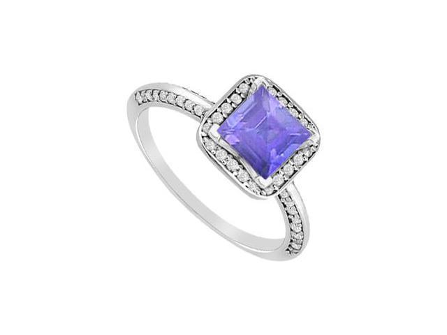 Engagement Ring Princess Cut Tanzanite and Diamonds in White Gold 14K 1.10 Carat Total Gem Weigh