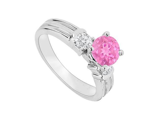 September Birthstone Created Pink Sapphire and CZ Engagement Rings 14K White Gold 0.75.ct.tgw