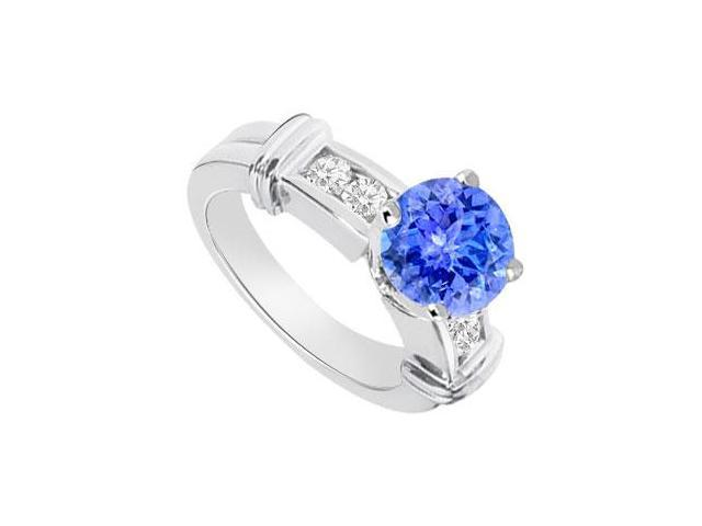 Tanzanite and Diamond Engagement Ring 14K White Gold  0.66 CT TGW