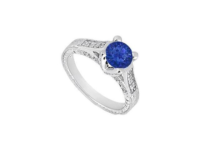 Created Sapphire and CZ Engagement Ring in 14kt White Gold 1.00.ct.tgw