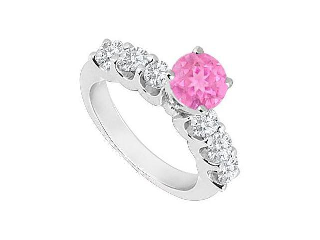Created Pink Sapphire and Cubic Zirconia Engagement Rings in 14K White Gold 0.80.ct.tgw