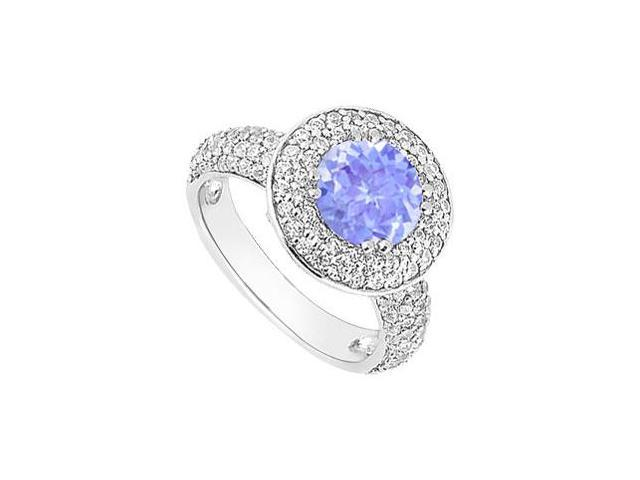 Created Tanzanite and Cubic Zirconia Halo Engagement Rings in 14kt White Gold 2.00.ct.tgw