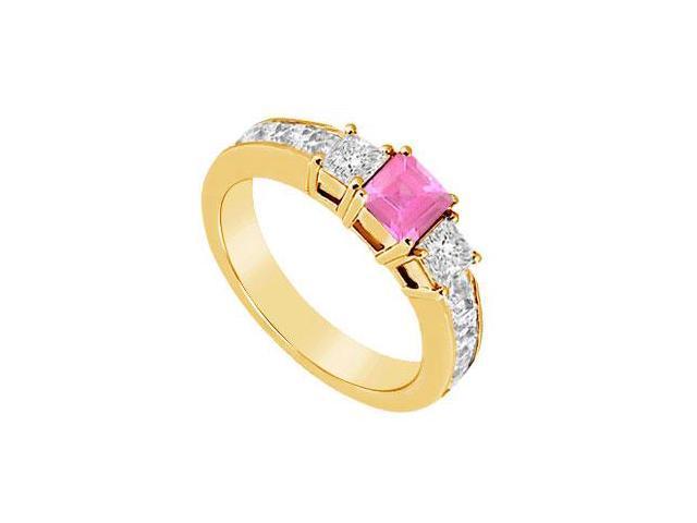 Pink Sapphire and Diamond Ring  14K Yellow Gold - 1.25 CT TGW
