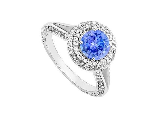 December Created Tanzanite and CZ Halo Engagement Rings 14K White Gold 1.25.ct.tgw