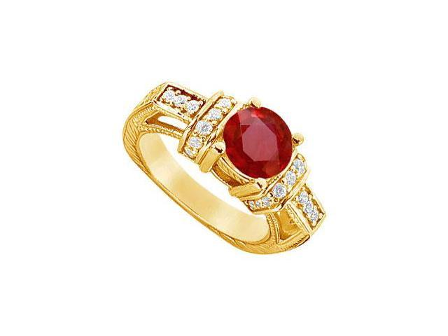 Ruby and Diamond Engagement Ring  14K Yellow Gold - 2.50 CT TGW