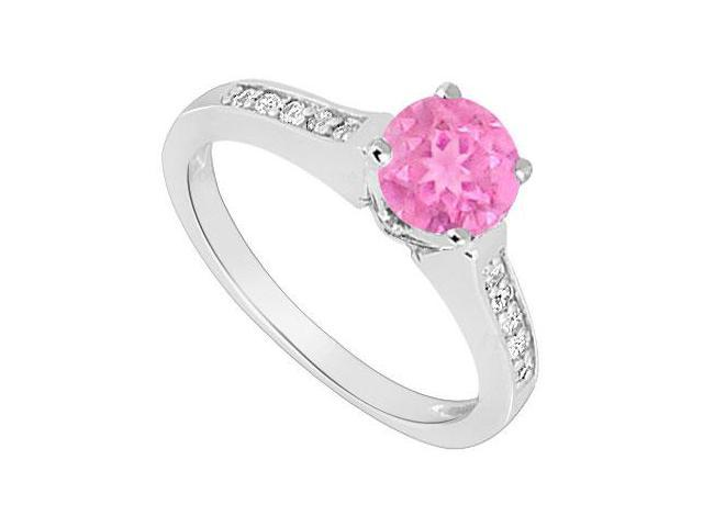 September Birthstone Created Pink Sapphire and CZ Engagement Ring in 14kt White Gold 0.60.ct.tgw