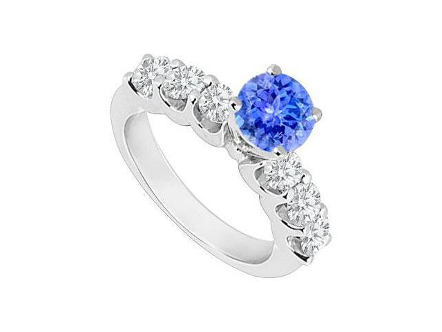 Created Tanzanite and Cubic Zirconia Engagement Rings in 14K White Gold 0.80.ct.tgw