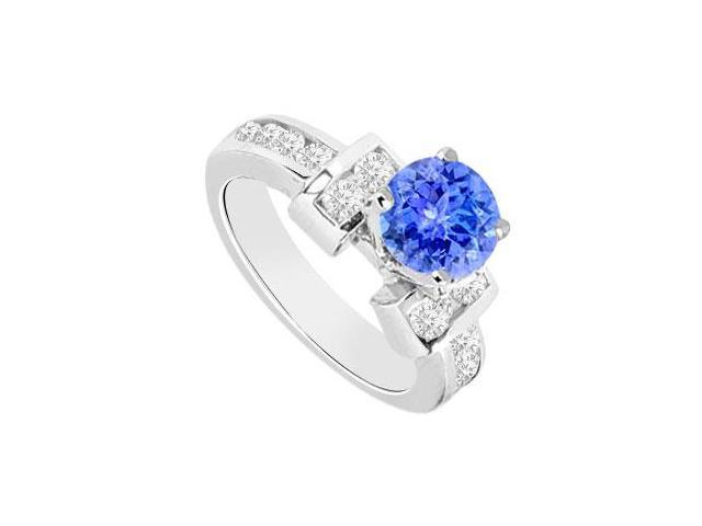 Tanzanite and Diamond Engagement Ring 14K White Gold  0.85 CT TGW
