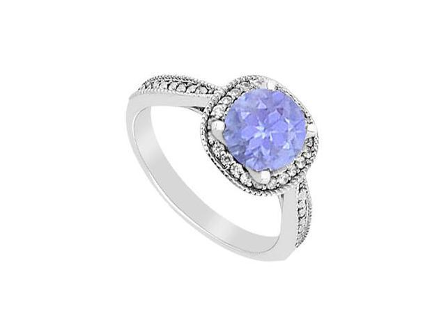 14K White Gold Diamond and Tanzanite Halo Engagement Ring with 1.05 Carat Total Gem Weight