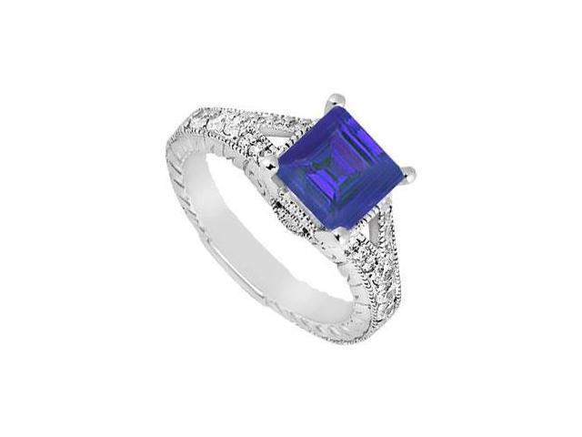 Split Shank Created Sapphire and CZ Engagement Ring in 14kt White Gold 1.25.ct.tgw