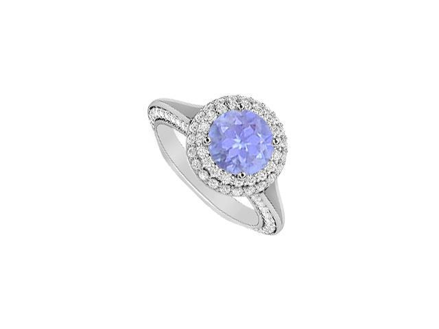Tanzanite and Diamond Halo Engagement Ring in 14K White Gold 2 Carat Total Gem Weight