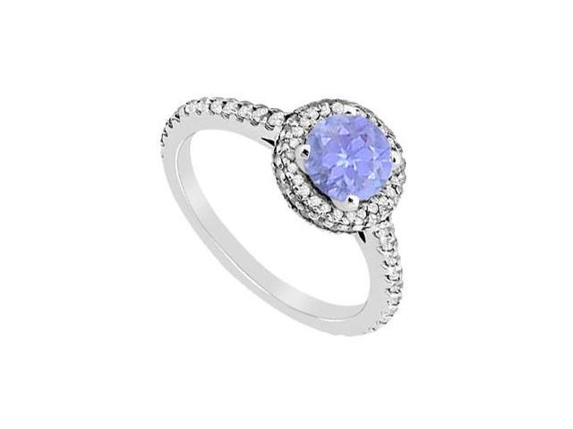 Tanzanite and Diamond Halo Engagement Ring of 1.35 Carat Total Gem Weight in 14K White Gold