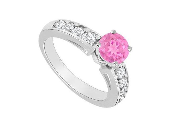 Created Pink Sapphire and Cubic Zirconia Engagement Rings in 14kt White Gold 1.00.ct.tgw