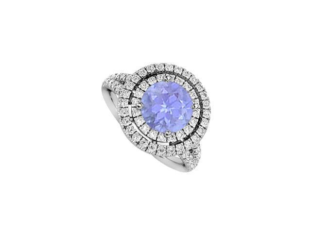 Diamond and Tanzanite Engagement Ring 2 Carat Total Gem Weight in 14K White Gold