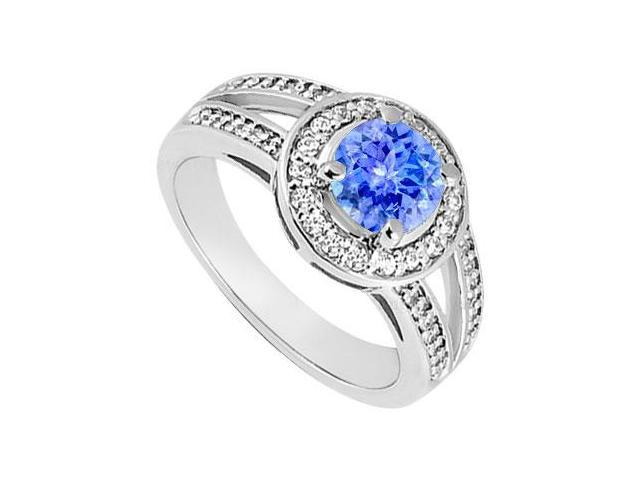 Created Tanzanite and Cubic Zirconia Halo Engagement Rings in 14kt White Gold 1.00.ct.TGW