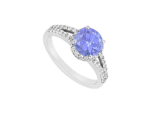 Created Tanzanite and Cubic Zirconia Engagement Ring in 14kt White Gold 1.00.ct.tgw