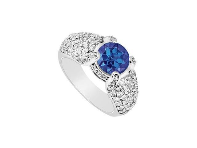 Multirow Side Studded Created Sapphire and CZ Halo Ring with Wide Shank 14K White Gold 2 ct.tw
