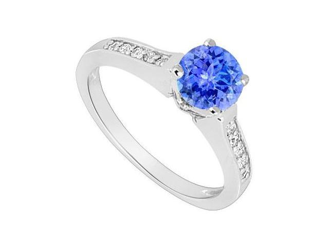 December Birthstone Created Tanzanite and CZ Engagement Ring in 14kt White Gold 0.60.ct.tgw