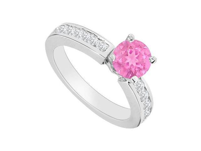 Engagement Rings with Created Pink Sapphire and Cubic Zirconia in 14K White Gold 0.80.ct.tgw