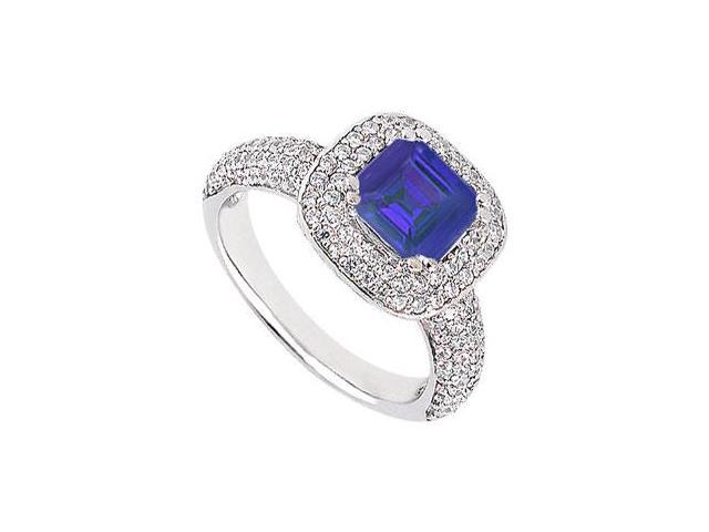 September Birthstone Created Sapphire With Multirow CZ Engagement Ring 14K White Gold 1.50.ct.tw