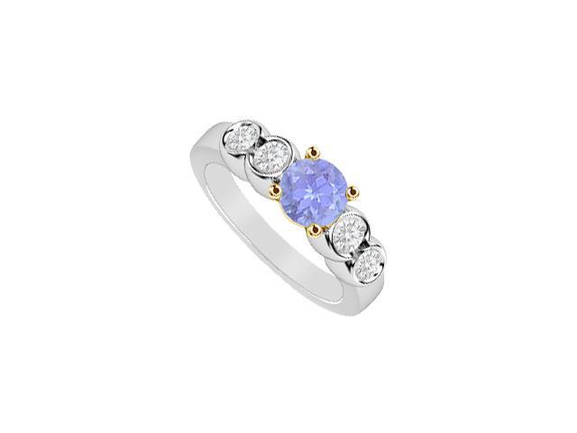 Tanzanite and Diamond Engagement Ring 1 Carat in 14K Two Tone  White and Yellow Gold Setting
