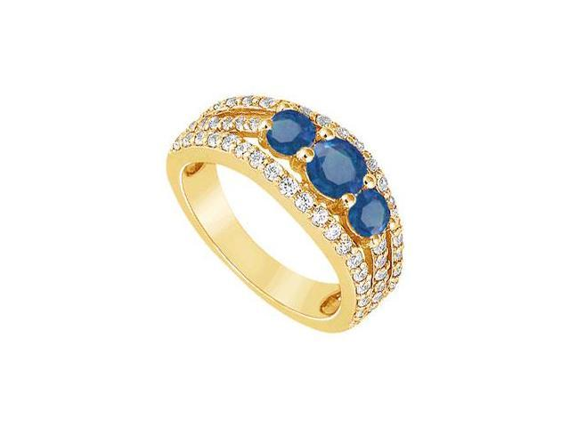 Sapphire and Diamond Engagement Ring  14K Yellow Gold - 2.25 CT TGW