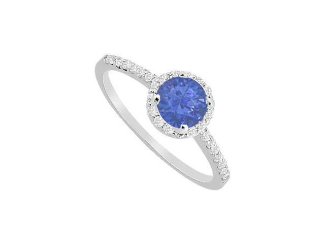 Pave Set Diamonds and Sapphire Halo Engagement Ring in 14K White Gold 1 Carat Total Gem Weight