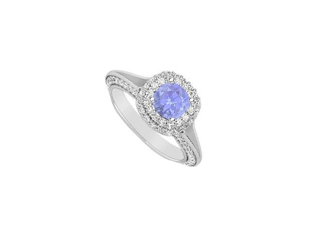14K White Gold Engagement Ring 2 Carat Diamonds and Tanzanite in Prong Setting