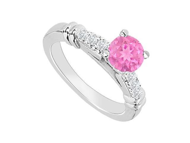 September Birthstone Created Pink Sapphire  CZ Engagement Rings in 14kt White Gold 0.60.ct.tgw