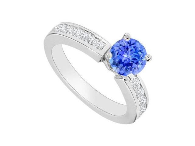 Engagement Rings with Created Tanzanite and Cubic Zirconia in 14K White Gold 0.80.ct.tgw