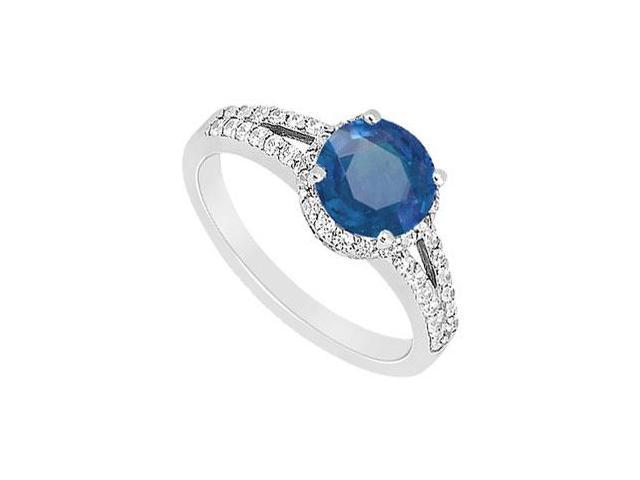 Split Shank Halo Engagement Ring With Centered Created Sapphire and CZ in 14K White Gold 1.ct.tw