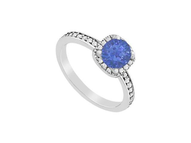 Sapphire and Diamond Halo Engagement Ring in 14K White Gold 1.05 Carat Total Gem Weight