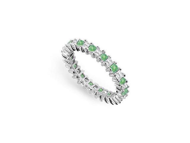 Diamond and Emerald Eternity Band  14K White Gold  2.00 CT TGW