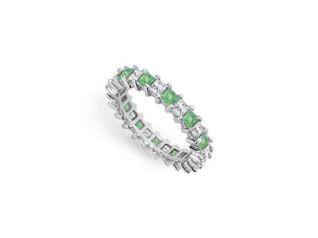 Diamond and Emerald Eternity Band  14K White Gold  3.00 CT TGW