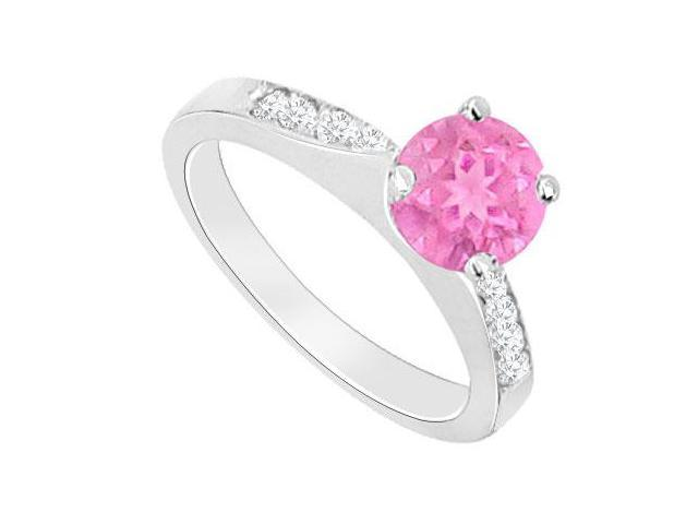Created Pink Sapphire and Cubic Zirconia Engagement Rings in 14kt White Gold 0.75.ct.tgw