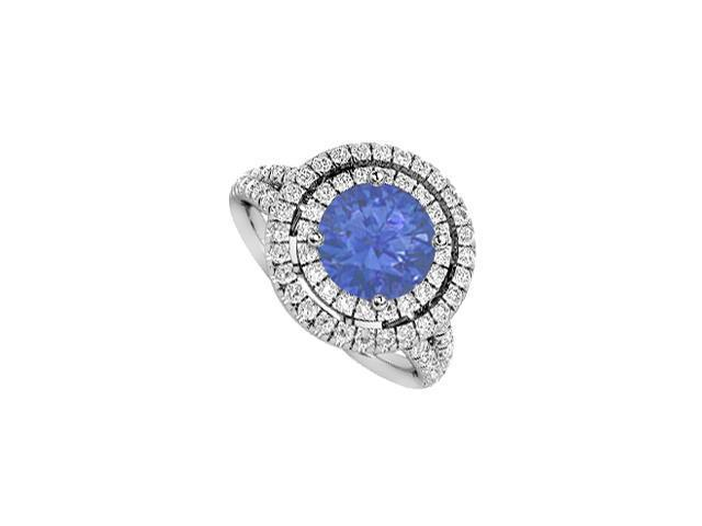 Halo Diamond and Natural Sapphire Engagement Ring in White Gold 14K Two Carat Total Gem Weight