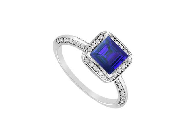 14K White Gold Princess Cut Sapphire and Diamond Engagement Ring with 1.10 Carat Total Weight
