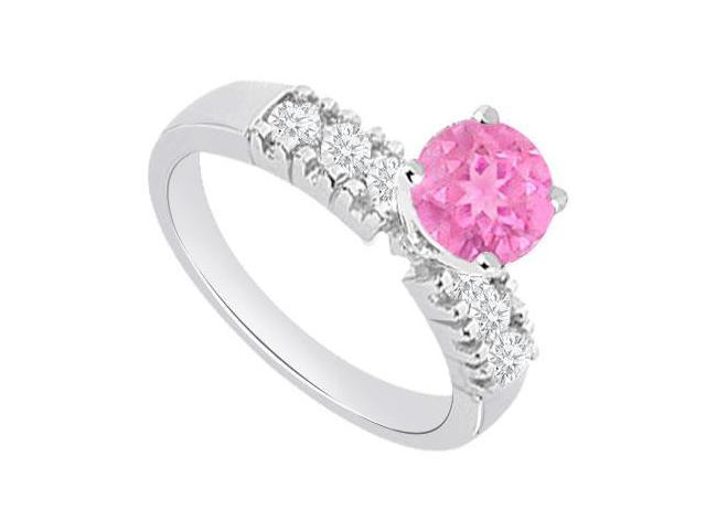1 carat Engagement Rings with Created Pink Sapphire and Cubic Zirconia in 14kt White Gold