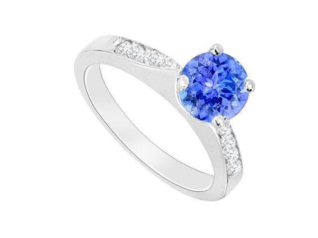 Created Tanzanite and Cubic Zirconia Engagement Rings in 14kt White Gold 0.75.ct.tgw