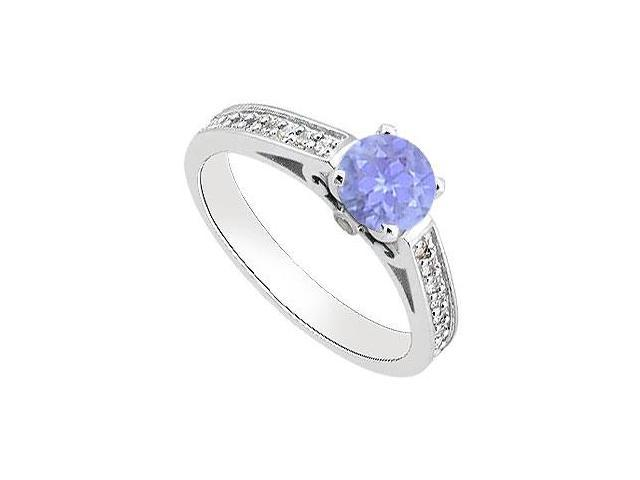 Tanzanite Engagement Ring with Diamond 1 Carat Total Gem Weight in14K White Gold