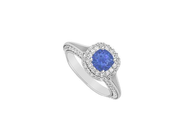 Halo Diamond and Natural Sapphire Engagement Ring in 14K White Gold 2 Carat Total Gem Weight