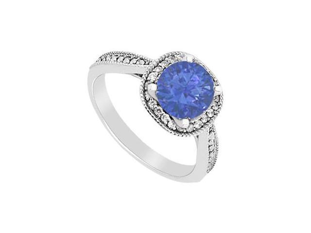 Diamond and Sapphire Halo Engagement Ring Total Gem Weight 1.05 Carat in 14K White Gold