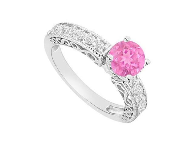 Created Pink Sapphire and Cubic Zirconia Filigree Engagement Rings 14K White Gold 1.00.ct.tgw