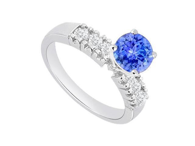 1 carat Engagement Rings with Created Tanzanite and Cubic Zirconia in 14kt White Gold