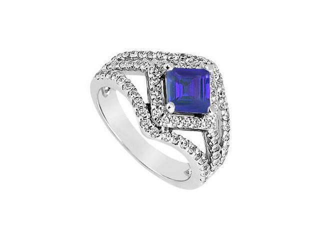 September Birthstone Created Sapphire and CZ Engagement Ring in 14K White Gold 1.50 ct.tw