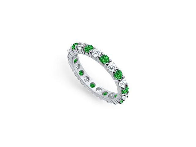 Emerald and Diamond Eternity Band  Platinum - 2.00 CT TGW
