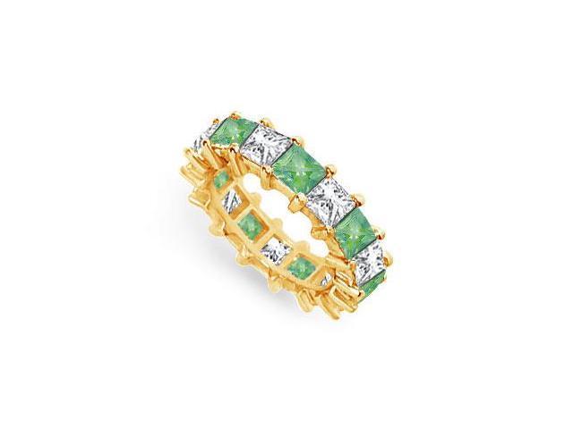 Diamond and Emerald Eternity Band  14K Yellow Gold  5.00 CT TGW
